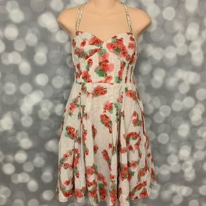 Free People Poppy Print Linen Summer Dress Size 10